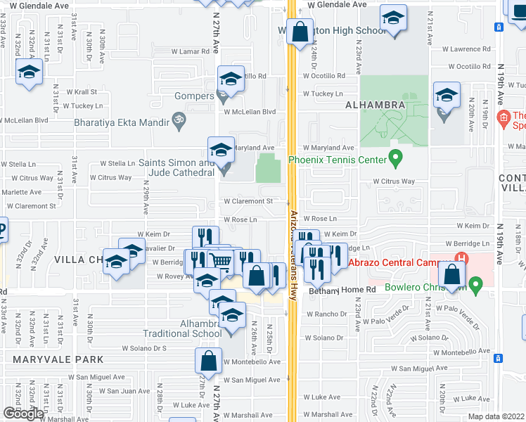 map of restaurants, bars, coffee shops, grocery stores, and more near 2601 West Claremont Street in Phoenix