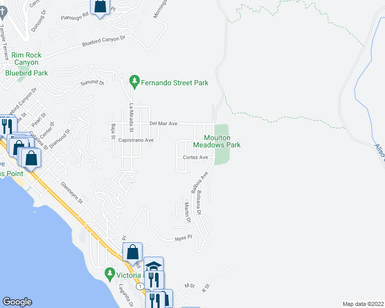 map of restaurants, bars, coffee shops, grocery stores, and more near 917 Santa Ana Street in Laguna Beach