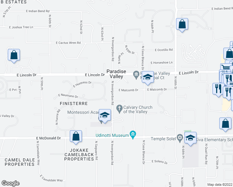 map of restaurants, bars, coffee shops, grocery stores, and more near 6419 East Malcomb Drive in Paradise Valley