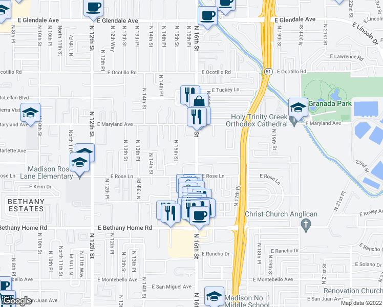 map of restaurants, bars, coffee shops, grocery stores, and more near 6236 North 16th Street in Phoenix
