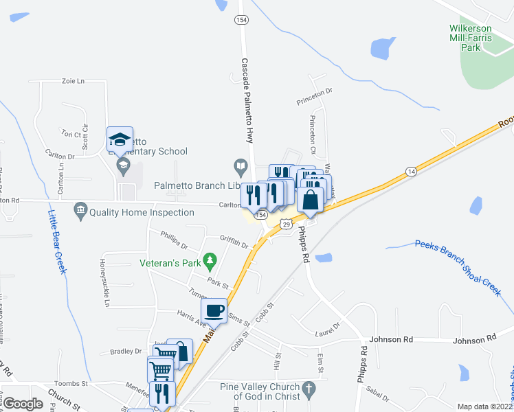 map of restaurants, bars, coffee shops, grocery stores, and more near 8314-8348 Cascade Palmetto Highway in Palmetto