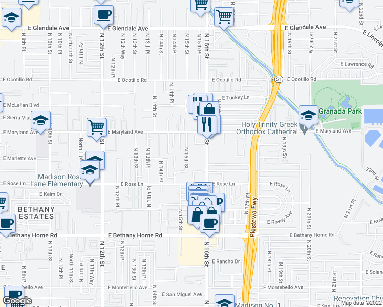 map of restaurants, bars, coffee shops, grocery stores, and more near 6315 North 16th Street in Phoenix