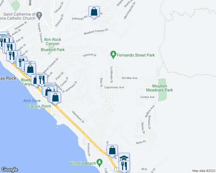 map of restaurants, bars, coffee shops, grocery stores, and more near 1004 Katella Street in Laguna Beach
