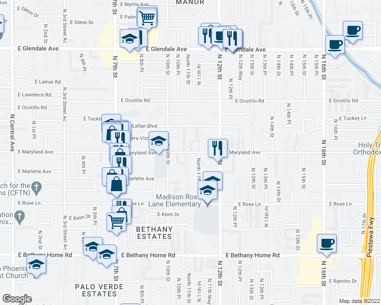 map of restaurants, bars, coffee shops, grocery stores, and more near East Maryland Avenue in Phoenix
