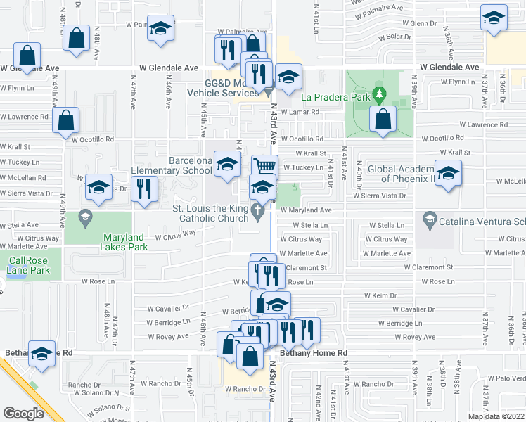 map of restaurants, bars, coffee shops, grocery stores, and more near 4301-4329 West Maryland Avenue in Phoenix