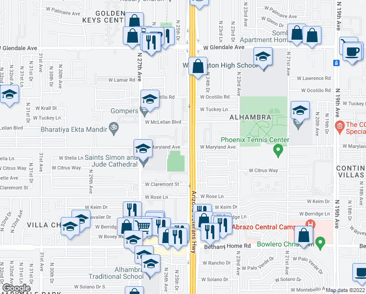 map of restaurants, bars, coffee shops, grocery stores, and more near 2521 West Maryland Avenue in Phoenix