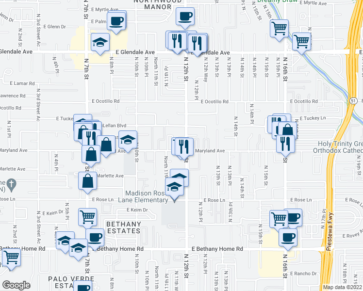 map of restaurants, bars, coffee shops, grocery stores, and more near 6502 North 12th Street in Phoenix