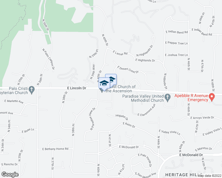map of restaurants, bars, coffee shops, grocery stores, and more near 6309-6451 North 40th Place in Paradise Valley