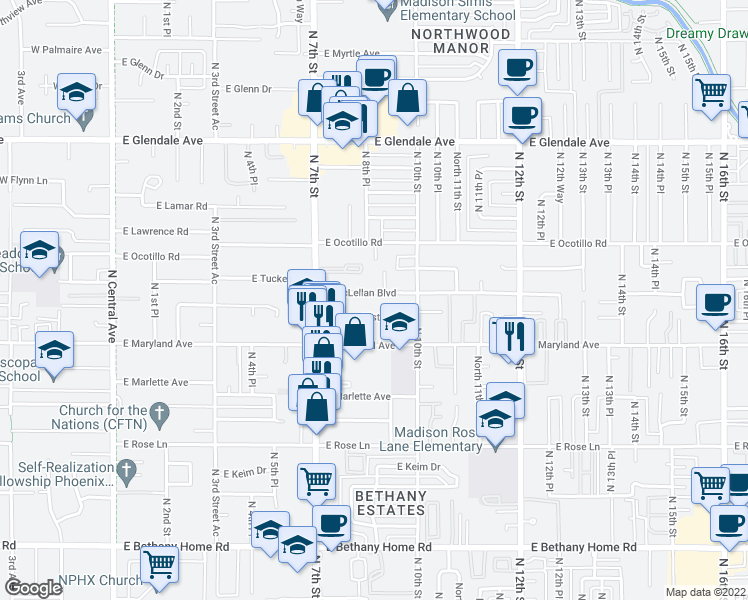 map of restaurants, bars, coffee shops, grocery stores, and more near 815 East McLellan Boulevard in Phoenix
