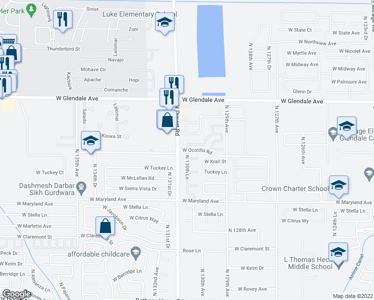 map of restaurants, bars, coffee shops, grocery stores, and more near West Ocotillo Road in Glendale