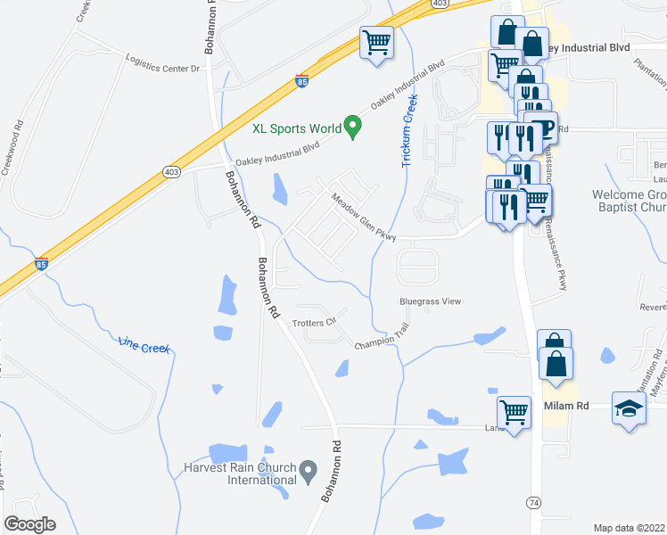 map of restaurants, bars, coffee shops, grocery stores, and more near 5065 Meadow Trace in Fairburn
