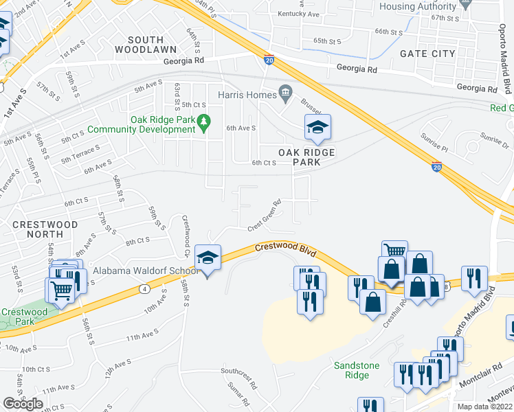 map of restaurants, bars, coffee shops, grocery stores, and more near 701 Crest Valley Way in Birmingham