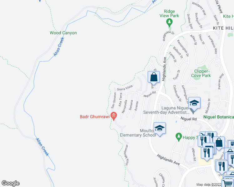 map of restaurants, bars, coffee shops, grocery stores, and more near 12 San Simeon in Laguna Niguel