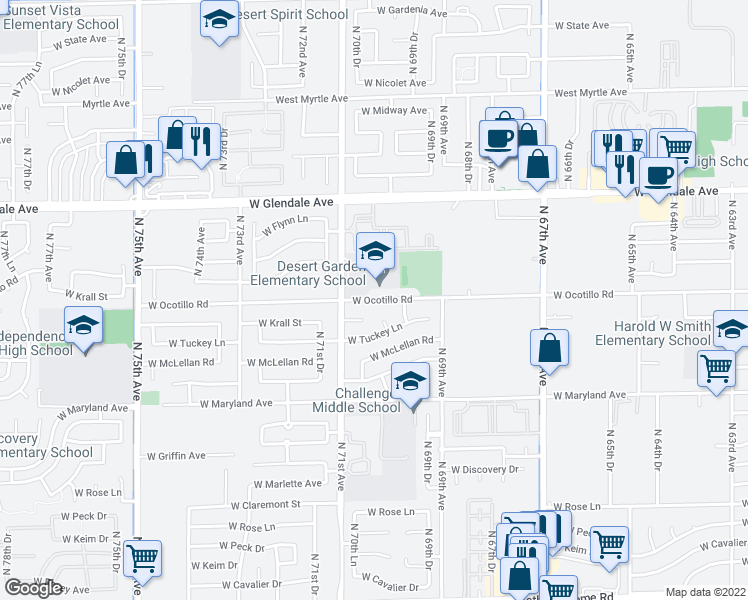 map of restaurants, bars, coffee shops, grocery stores, and more near 7024 West Krall Street in Glendale