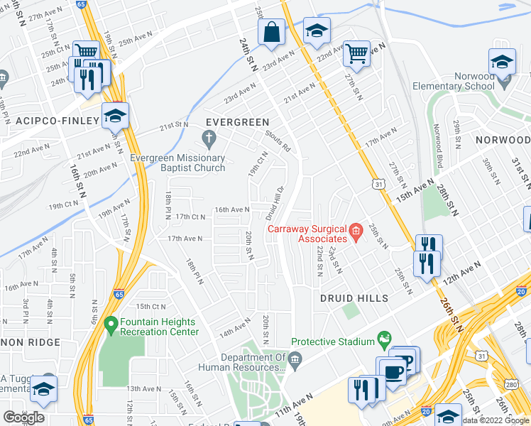 map of restaurants, bars, coffee shops, grocery stores, and more near 1592 Druid Hill Drive in Birmingham