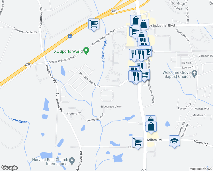map of restaurants, bars, coffee shops, grocery stores, and more near 900 Meadow Glen Parkway in Fairburn