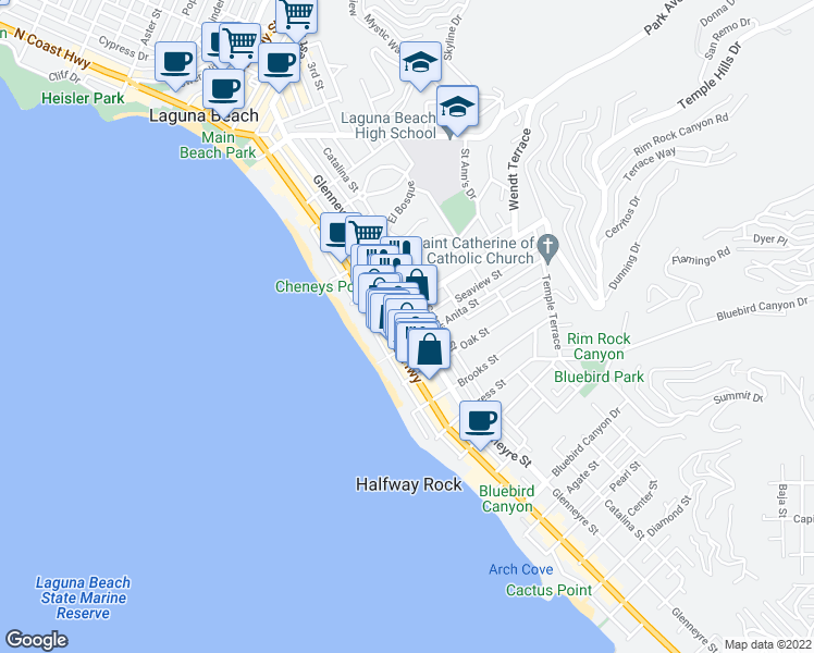map of restaurants, bars, coffee shops, grocery stores, and more near 953 Glenneyre Street in Laguna Beach