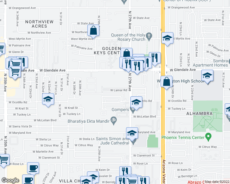 map of restaurants, bars, coffee shops, grocery stores, and more near 2747 West Lamar Road in Phoenix