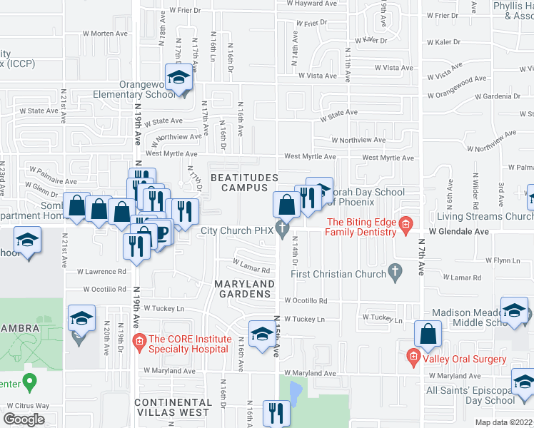 map of restaurants, bars, coffee shops, grocery stores, and more near 1502 West Glendale Avenue in Phoenix