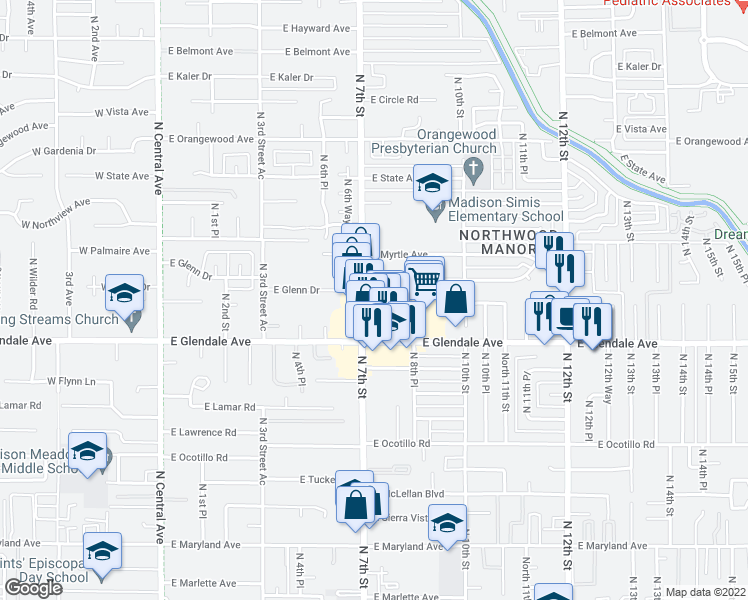 map of restaurants, bars, coffee shops, grocery stores, and more near 7045 North 7th Street in Phoenix