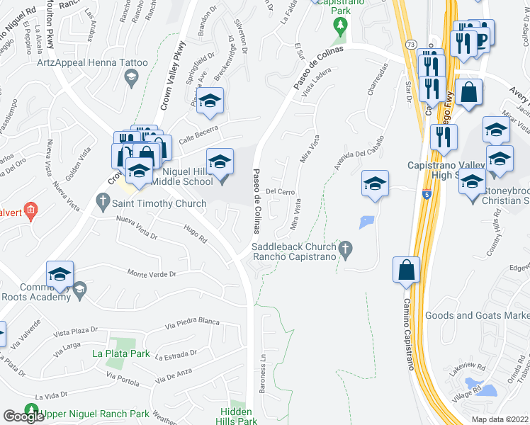 map of restaurants, bars, coffee shops, grocery stores, and more near 29105 Via Cerrito in Laguna Niguel