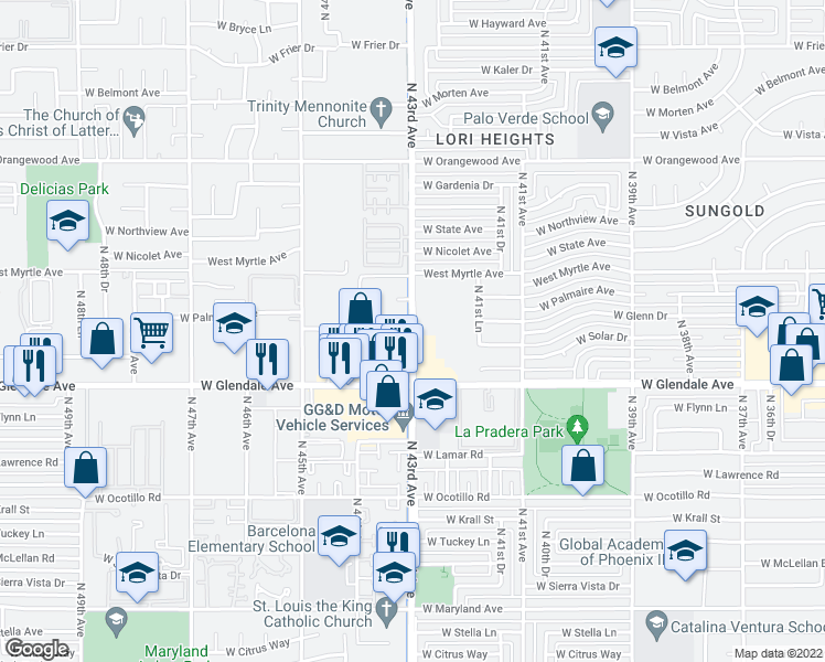 map of restaurants, bars, coffee shops, grocery stores, and more near 7040 North 43rd Avenue in Glendale