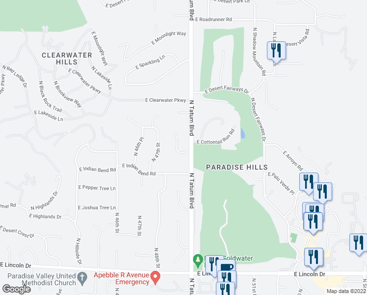 map of restaurants, bars, coffee shops, grocery stores, and more near 7101 North Quartz Mountain Road in Paradise Valley