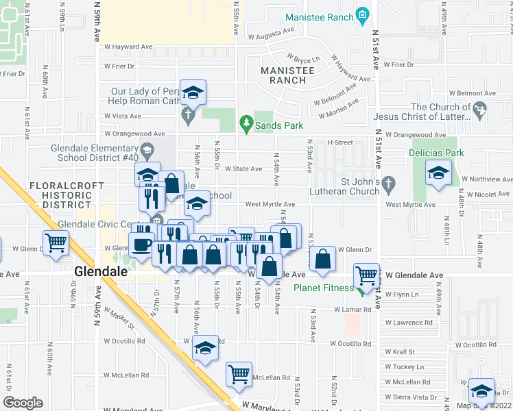 map of restaurants, bars, coffee shops, grocery stores, and more near 5427 West Myrtle Avenue in Glendale
