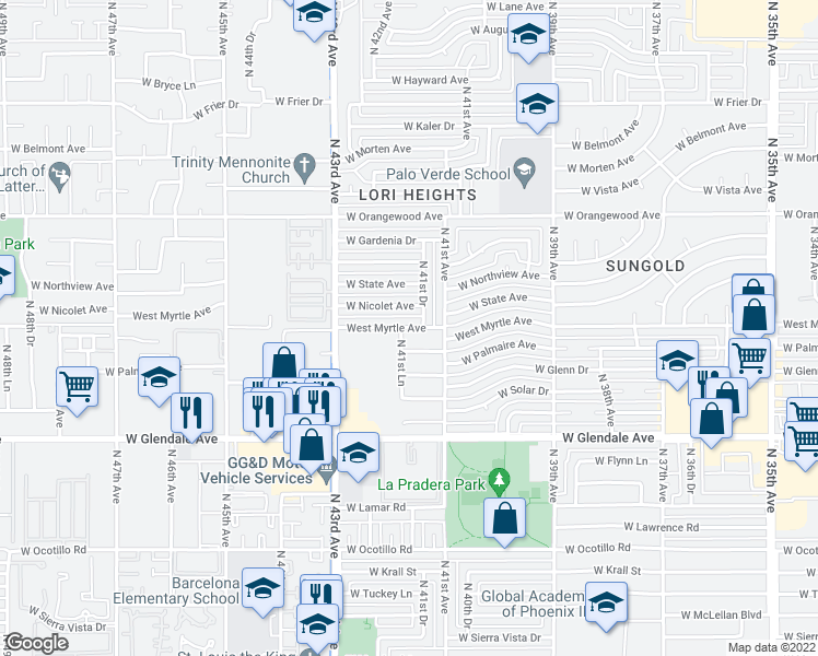 map of restaurants, bars, coffee shops, grocery stores, and more near 7122-7126 North 41st Lane in Phoenix
