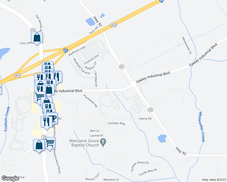 map of restaurants, bars, coffee shops, grocery stores, and more near 5460 Oakley Industrial Boulevard in Fairburn