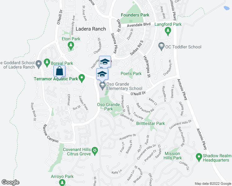 map of restaurants, bars, coffee shops, grocery stores, and more near 6 Tranquility Place in Mission Viejo