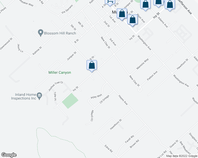 map of restaurants, bars, coffee shops, grocery stores, and more near 25030 Riverview Lane in Murrieta