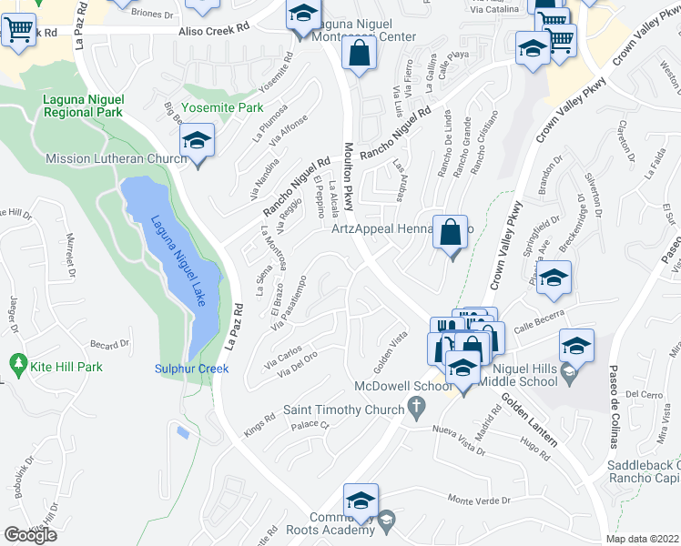 map of restaurants, bars, coffee shops, grocery stores, and more near 4 San Rafael Place in Laguna Niguel