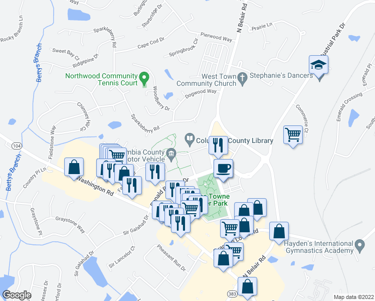 map of restaurants, bars, coffee shops, grocery stores, and more near Norwood Drive in Evans