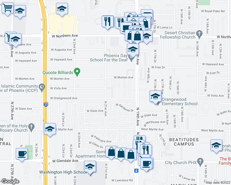 map of restaurants, bars, coffee shops, grocery stores, and more near 2016 West Orangewood Avenue in Phoenix