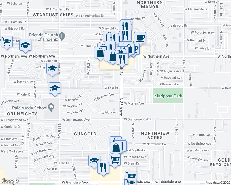 map of restaurants, bars, coffee shops, grocery stores, and more near 3514 West Belmont Avenue in Phoenix