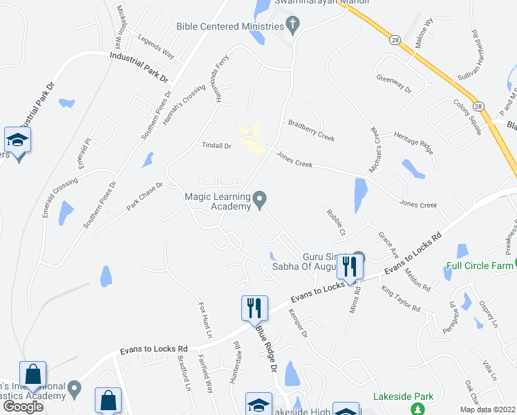 map of restaurants, bars, coffee shops, grocery stores, and more near 750 Jennings Road in Evans