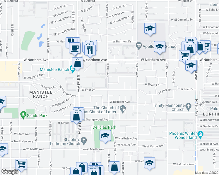 map of restaurants, bars, coffee shops, grocery stores, and more near 4852 West Frier Drive in Glendale