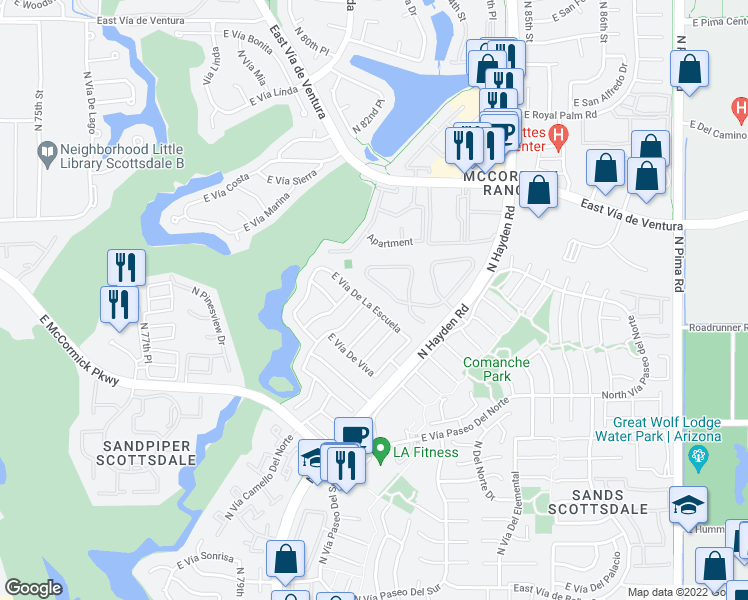 map of restaurants, bars, coffee shops, grocery stores, and more near 8162 East Vía De La Escuela in Scottsdale