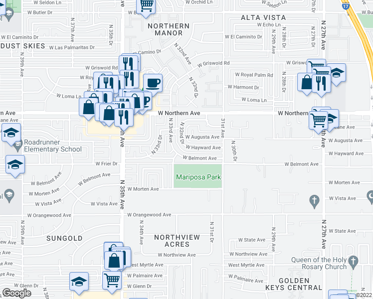 map of restaurants, bars, coffee shops, grocery stores, and more near 7734 North 32nd Drive in Phoenix