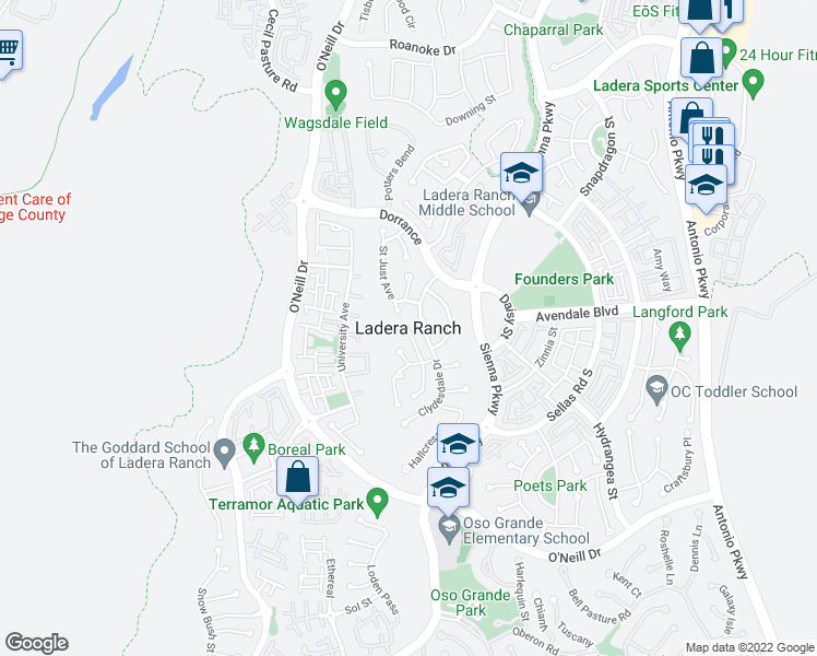 map of restaurants, bars, coffee shops, grocery stores, and more near in Ladera Ranch