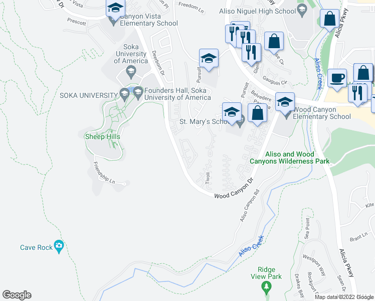 map of restaurants, bars, coffee shops, grocery stores, and more near 6 Cottage Lane in Aliso Viejo