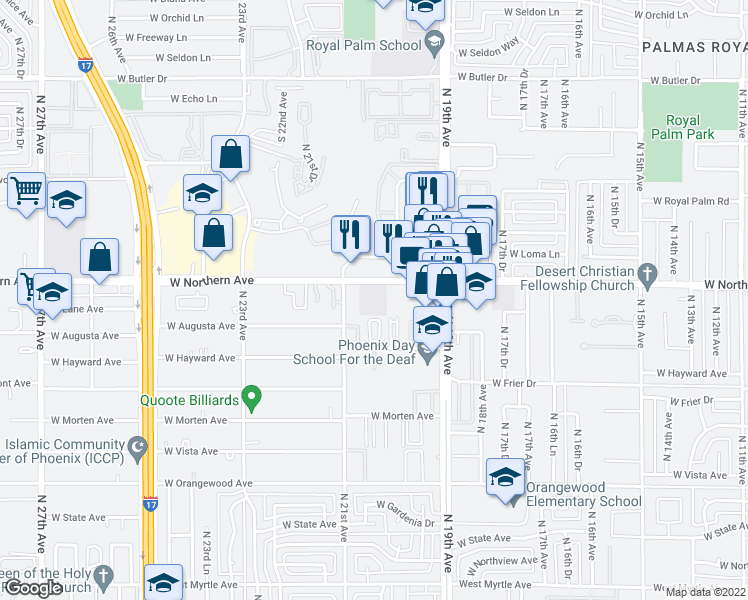 map of restaurants, bars, coffee shops, grocery stores, and more near 7787-7799 North 20th Avenue in Phoenix
