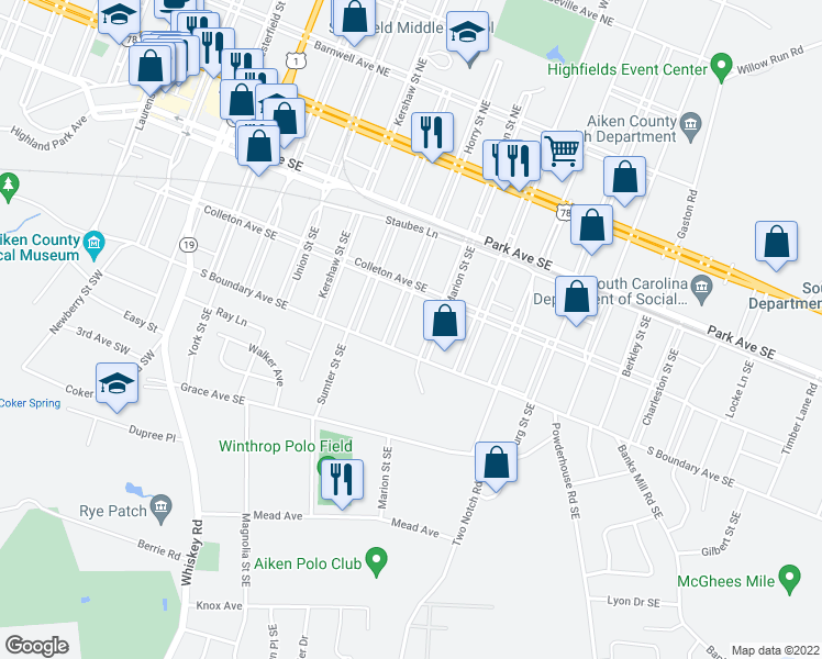 map of restaurants, bars, coffee shops, grocery stores, and more near 338 Horry Street Southeast in Aiken
