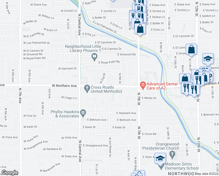 map of restaurants, bars, coffee shops, grocery stores, and more near 7875 North 3rd Street in Phoenix