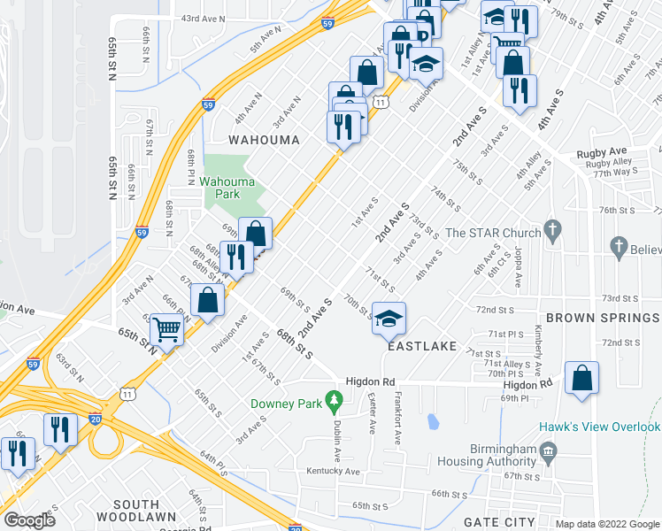 map of restaurants, bars, coffee shops, grocery stores, and more near 7007 1st Avenue South in Birmingham