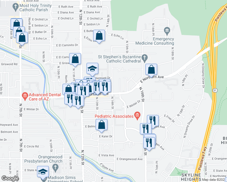 map of restaurants, bars, coffee shops, grocery stores, and more near 1420 East Northern Avenue in Phoenix