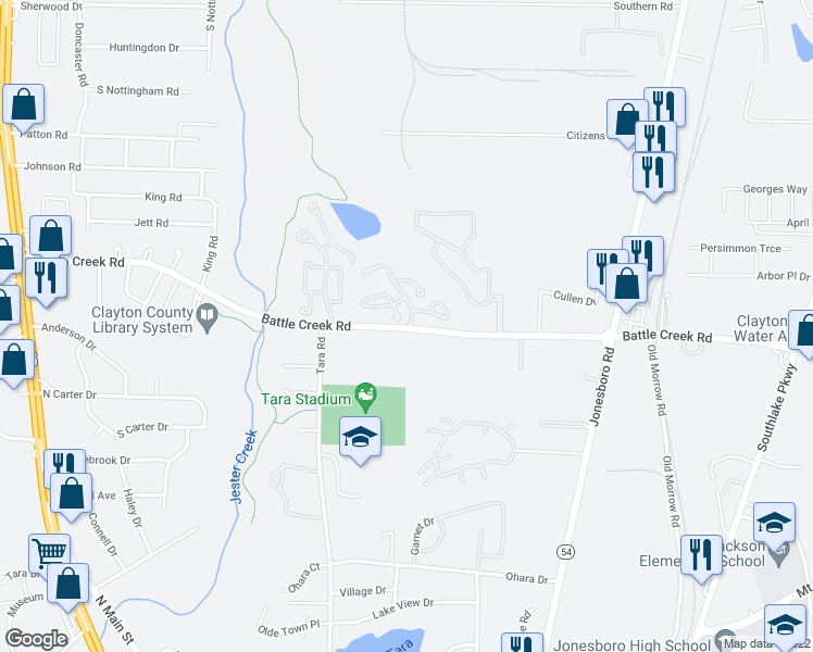 map of restaurants, bars, coffee shops, grocery stores, and more near 100 Chase Village Drive in Jonesboro