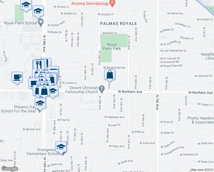 map of restaurants, bars, coffee shops, grocery stores, and more near 8012 North 14th Avenue in Phoenix