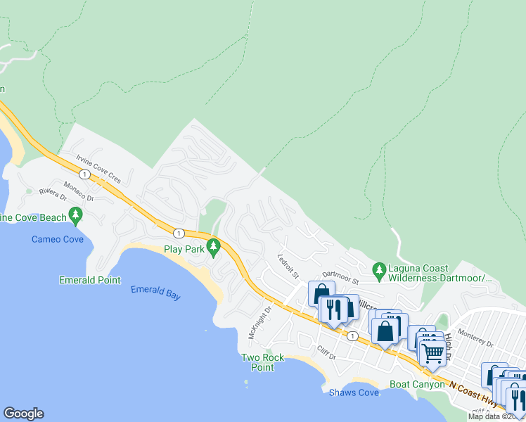 map of restaurants, bars, coffee shops, grocery stores, and more near Sunnyslope Road in Laguna Beach